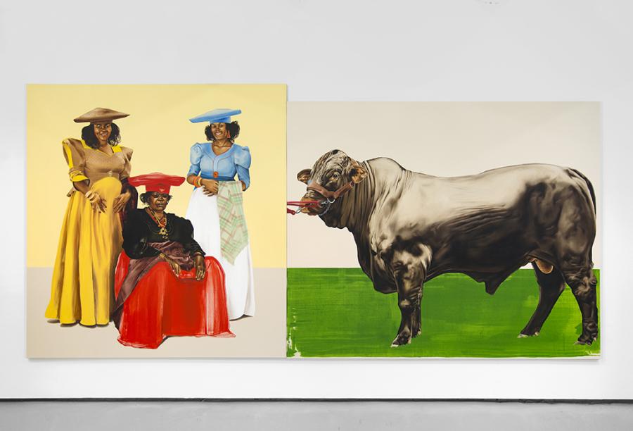 Meleko Mokgosi  Democratic Intuition, Lerato: Philia I, 2016. Two panels: oil on canvas. 96 x 198 1/2 inches. © Meleko Mokgosi.