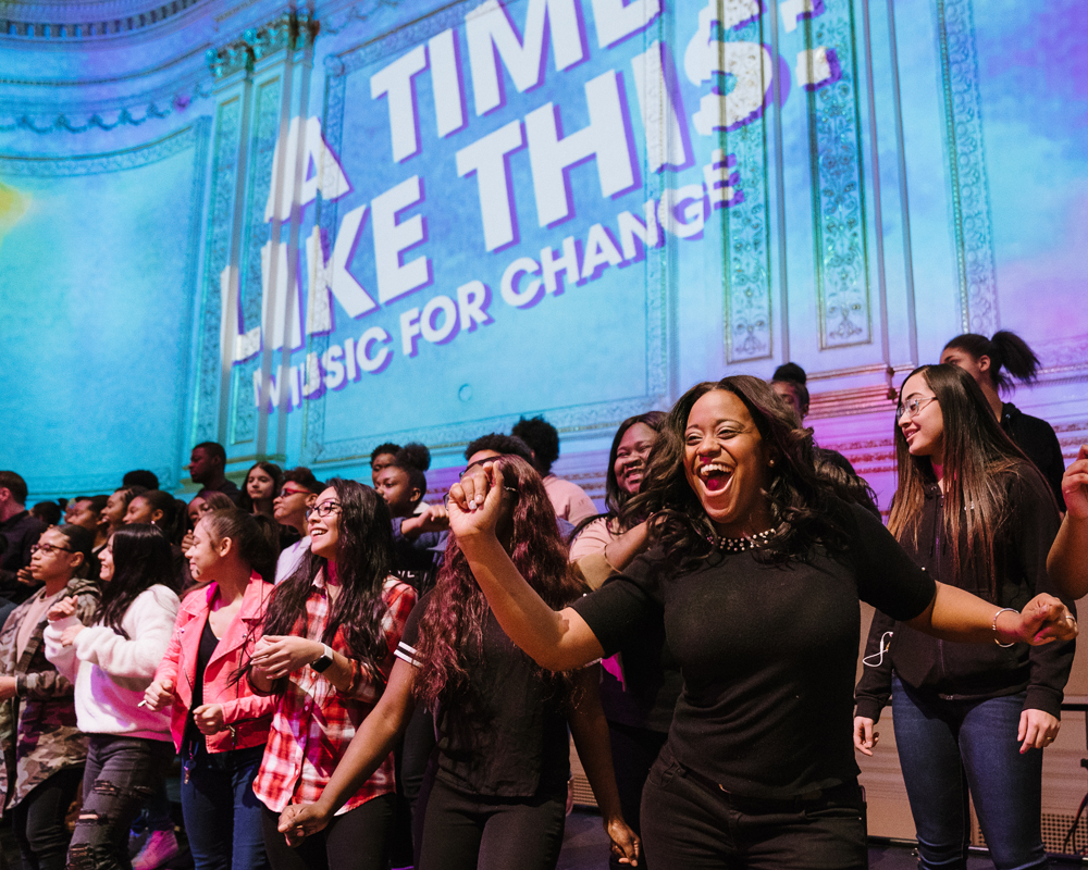 "New York City high school students rehearse for ""A Time Like This: Music for Change"" onstage at Carnegie Hall. Photo credit: Fadi Kheir"