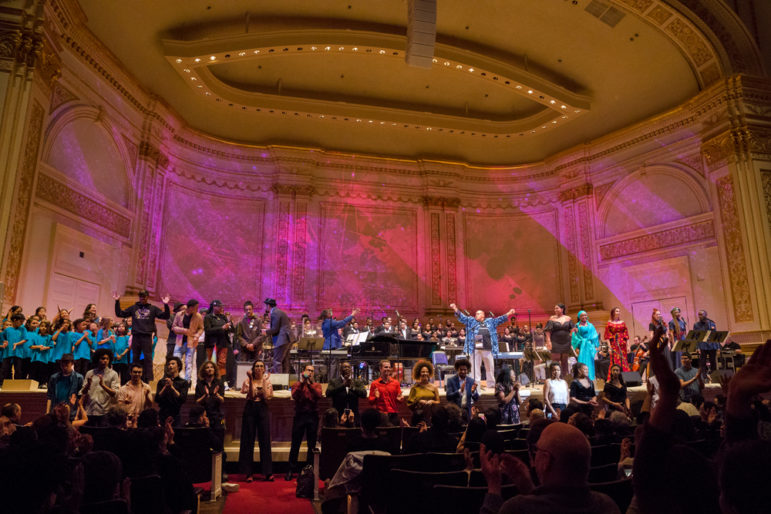 "Community members, students and songwriters from across New York City perform in ""A Time Like This: Music for Change"" at Carnegie Hall on Sunday. Photo Credit: Richard Termine"