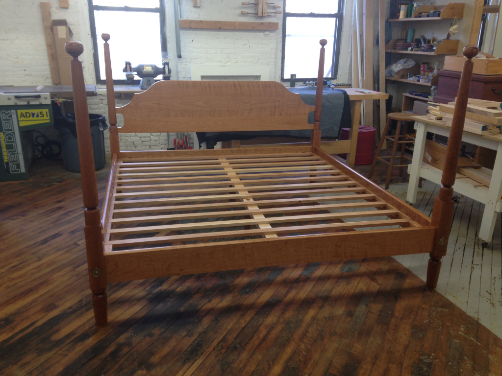 Traditional bed in figured cherry