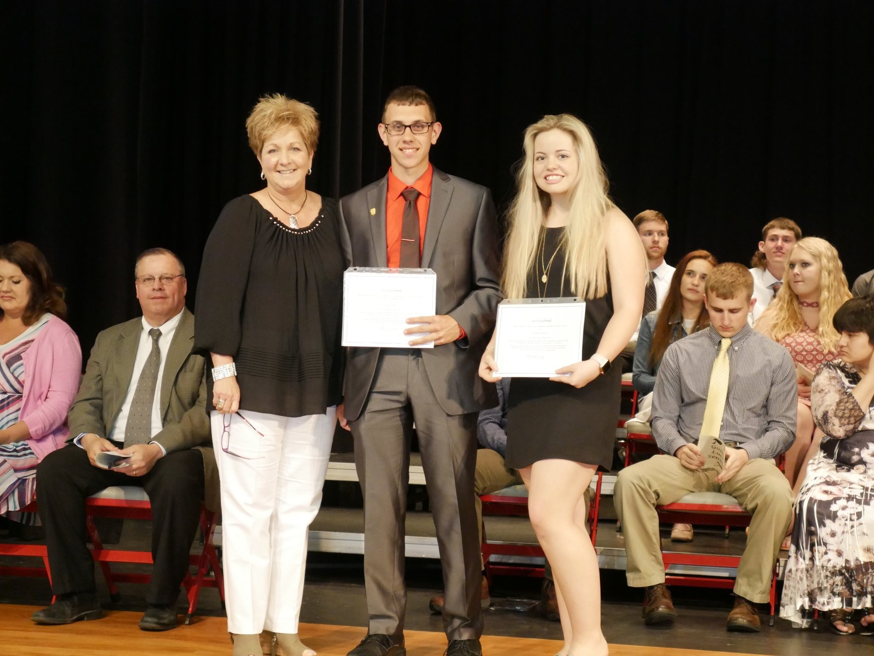 2018 Scholarship Winners: Aaron Poling (Annual Recipient) and Cynthia Schneider (One-time Recipient) (Pictured with Rhonda Irey, STG Founder)