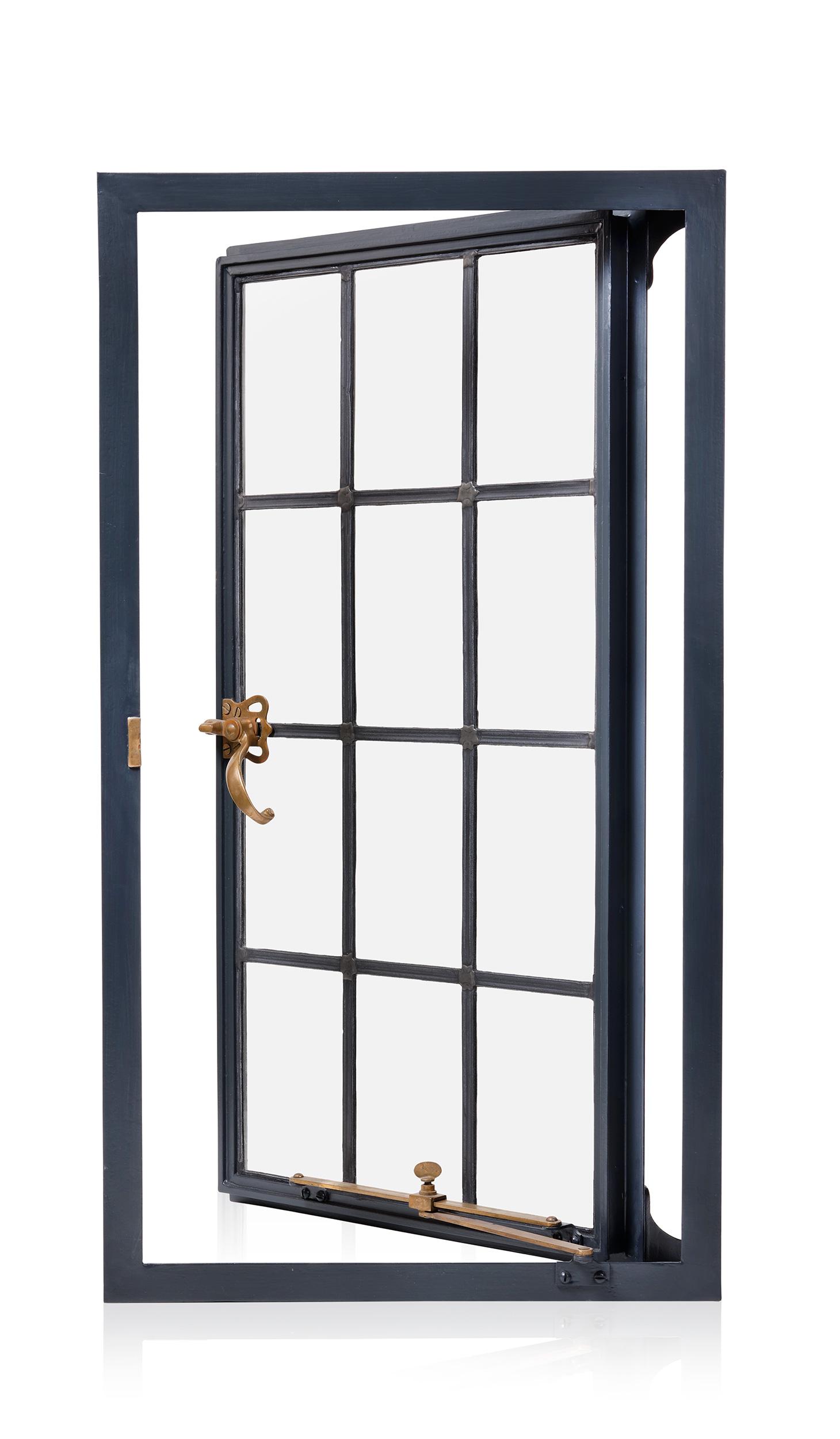 Single casement, leaded glass