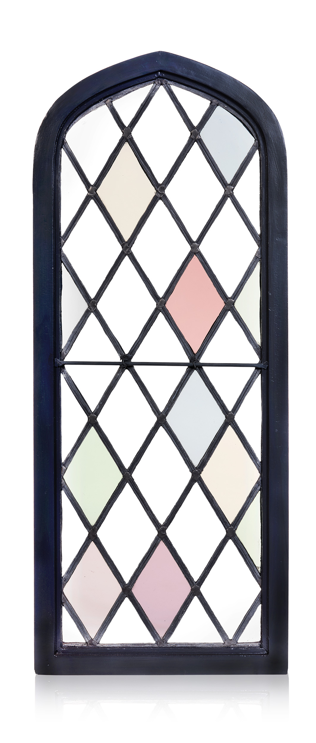 Fixed cathedral top, diamond leaded glass