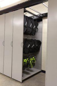 Snow shoe storage on LevPRO storage solutions