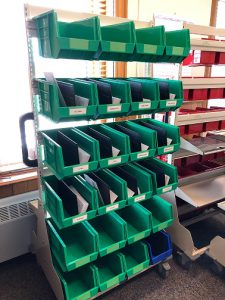 Full height cart with some dividers