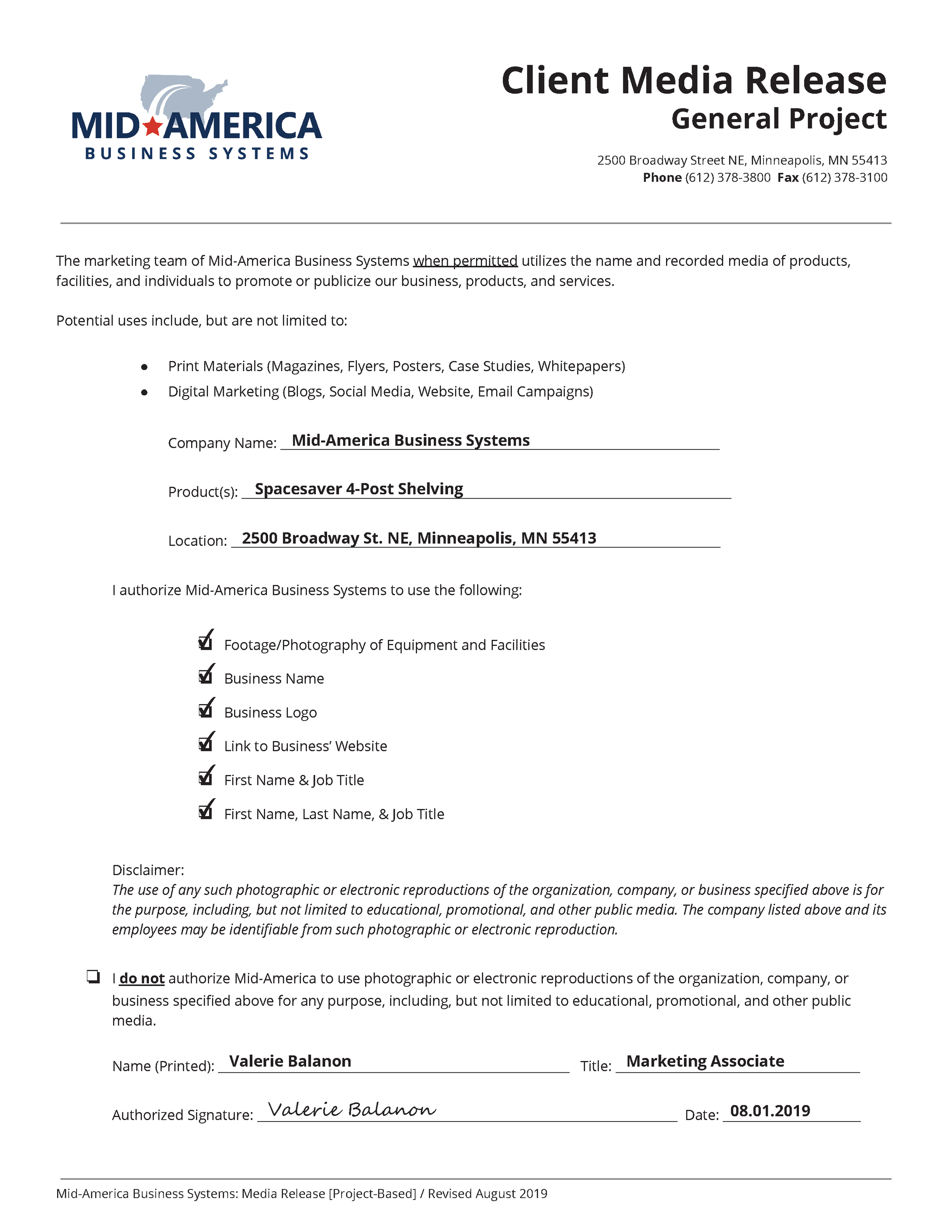 Example of Project Based Media Release Form Filled with Adobe Acrobat