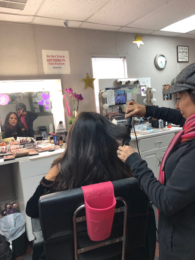 Cofounder Sharon Feldstein in hair and makeup