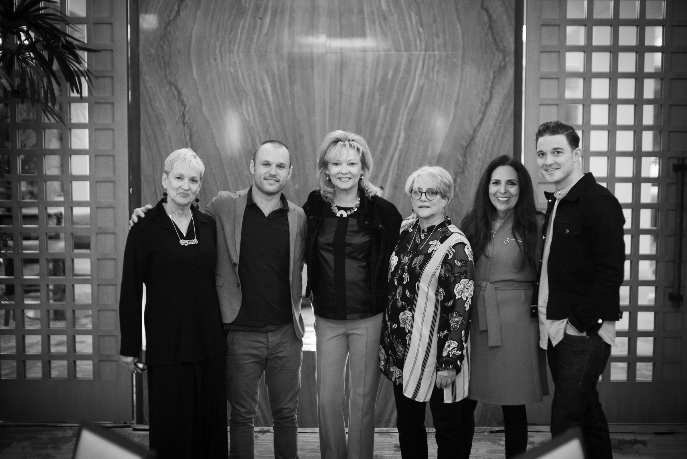 Cofounders Sharon Feldstein and Patsy Noah with Terria Joseph, James Byous, Sheryl Trower, and Sean Patrick Murray