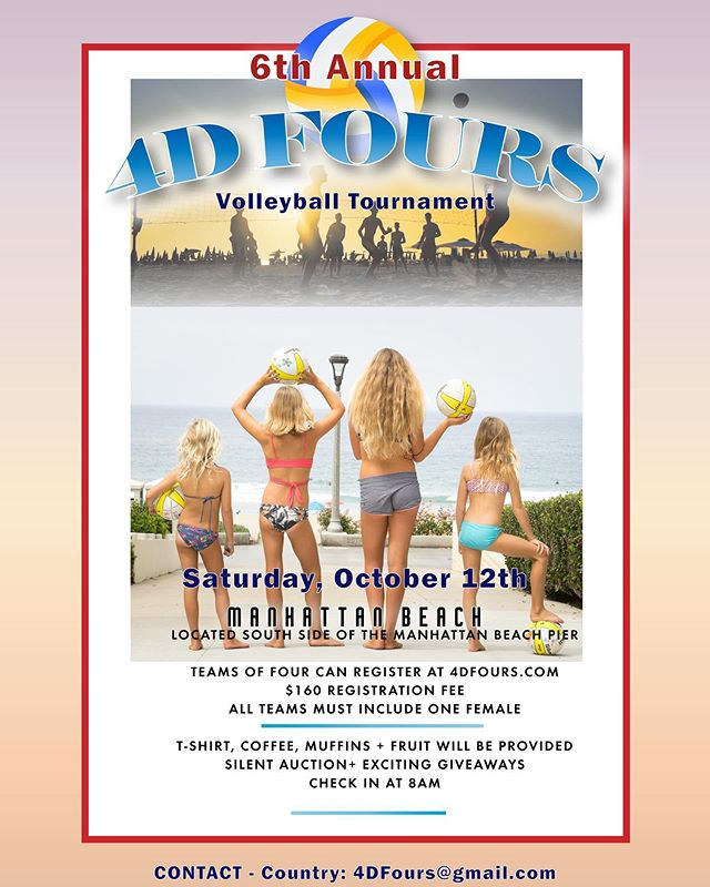 It's that time of year again!! Registration is open NOW! Link in Bio. If you have any questions just email me. See y'all on the sand!! 🏐🏐🏐. #4dfours #4dkfours #hearthealthawareness #beach #volleyball #tournament #fundraiser #manhattanbeach  #hermosabeach #redondobeach #southbay #downtownmanhattanbeach #playforacause