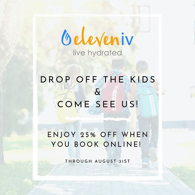 Back to school!📓📚 Drop off the kids and come get hydrated!💧 Now through August 31st recieve 25% off when you book online! 💥💥Use code BTS2019💥💥 . . . #eleveniv #livehydrated #ivtherapydallas #ivhydration #hydration #ivvitamindrip #ivtherapy #ivdrip #universitypark #ivtherapysolutions #ivvitamintherapy #dallas #health #smu #energy #immunity #wellness #parkcities #highlandpark #b12shots