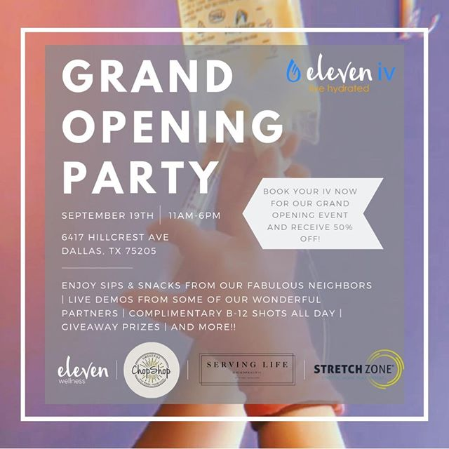 You're invited!!✨✨ Join us September 19th for our Grand Opening party!💧🎉🎉 Learn about IV Therapy💧 and enjoy sips, snacks, live demos, complimentary B-12 shots💉, giveaways🎁, and much more! We can't wait to celebrate with you! Book in advance and receive 50% off your service!💧💥✔️ . . . #eleveniv #livehydrated #ivtherapydallas #ivhydration #ivtherapy #hydration #universitypark #ivvitamindrip #ivdrip #dallas #ivvitamintherapy #parkcities #health #wellness #ivtherapysolutions #highlandpark #energy #smu #immunity #b12shots #smustudents