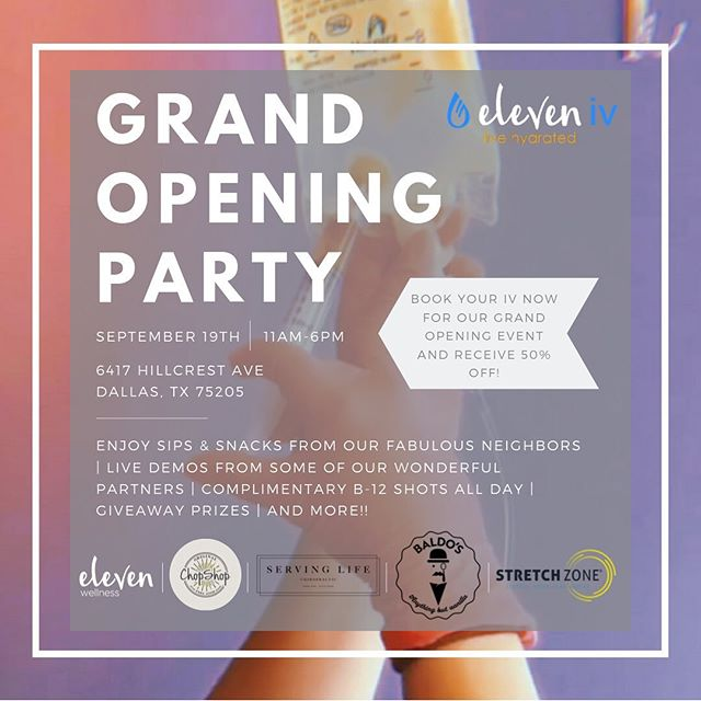 We're excited to say @baldosicecream will be joining us for our Grand Opening party!🎉🎉 Such a treat!🍦🍦🍦 We're just 8 days away!💧💙🎉😱 Who's coming?🙋 . . . #eleveniv #livehydrated #ivtherapy #universitypark #ivtherapydallas #ivhydration #hydration #ivdrip #dallas #ivvitamindrip #parkcities #wellness #smu #ivvitamintherapy #highlandpark #health #energy #ivtherapysolutions #immunity #b12shots