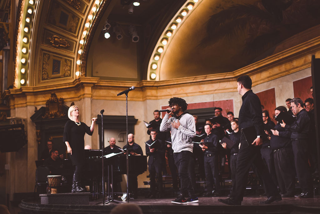 Noah 'Honey Bear' Hawes from Elementz joined YPCC on stage at Memorial Hall, Oct 2018