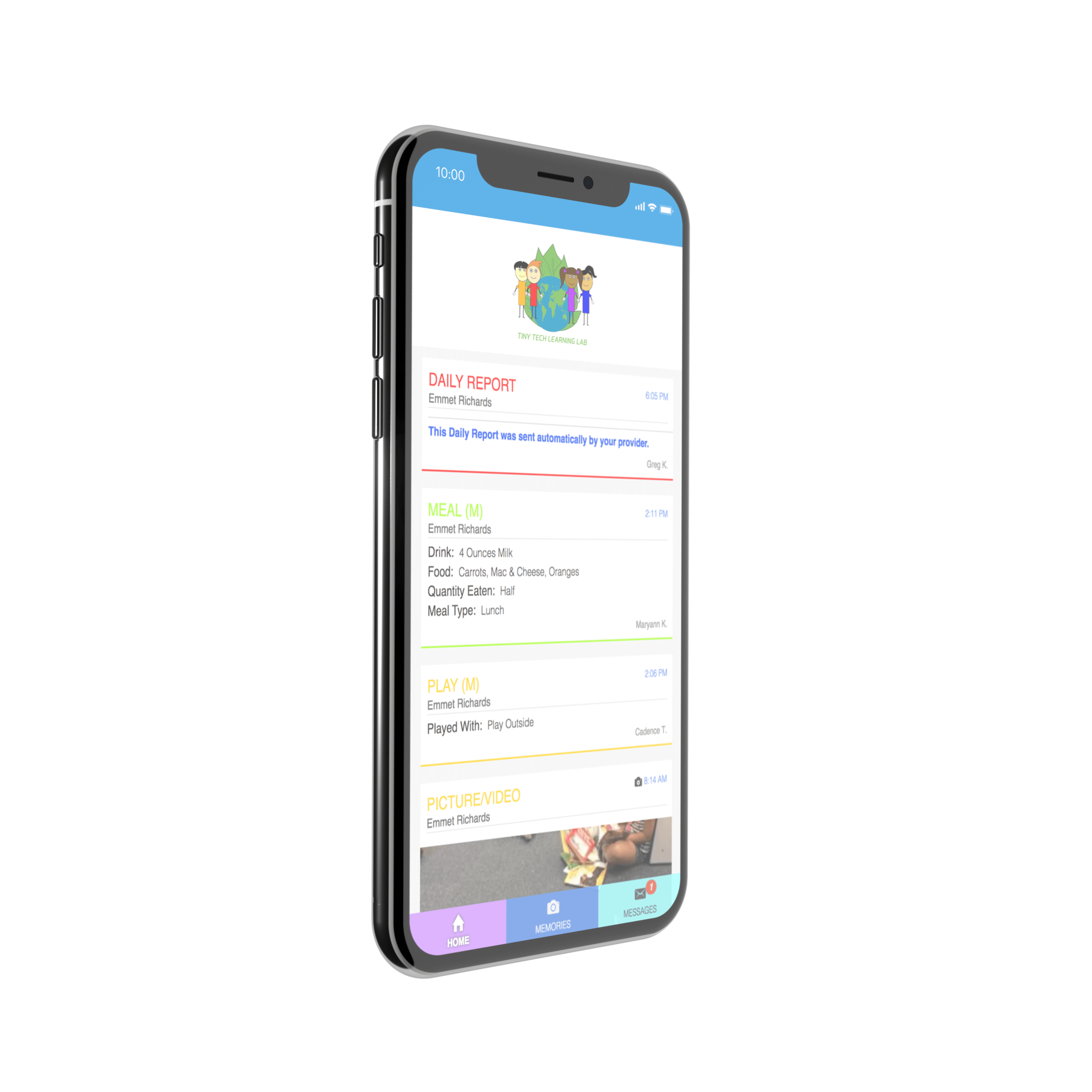STAY CONNECTED - Tiny Tech gives parents options! Select your communication style from emails, texts or apps! Get pictures and videos of your child's day! Staying connected to your child and Tiny Tech has never been easier.