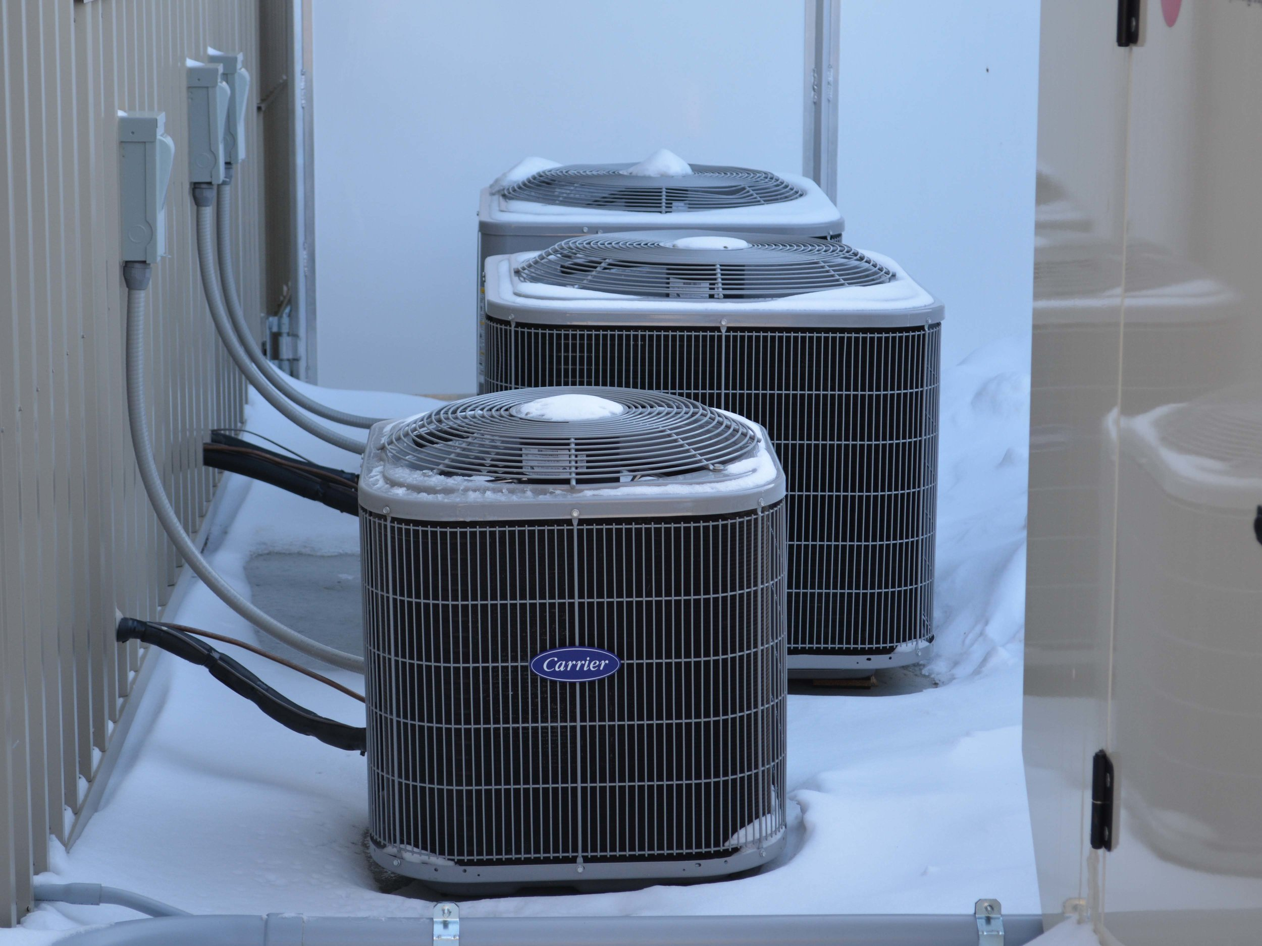 Three air conditioning units keep the kennel comfortable in the summer