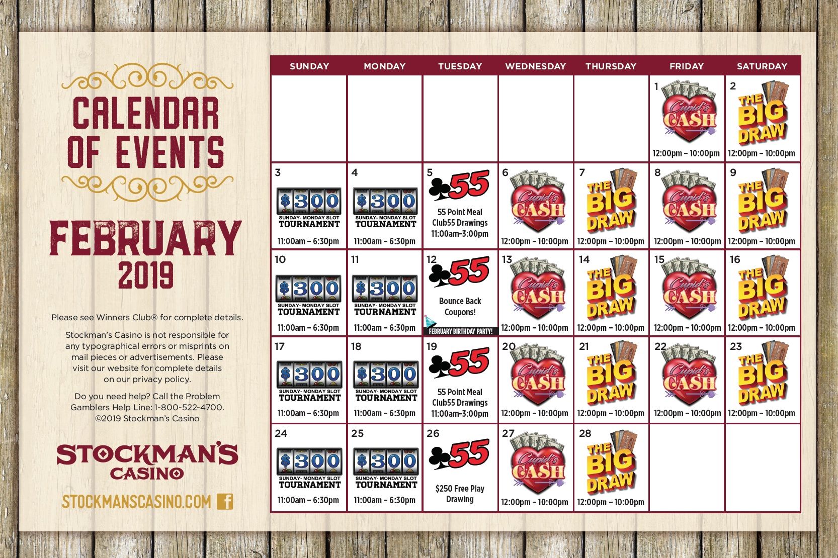 Promotions - Visitors to Stockman's Casino have the opportunity to participate in a variety of rewarding promotions throughout the year. From exciting contests and tournaments to other special offers, there's always something worth returning for!