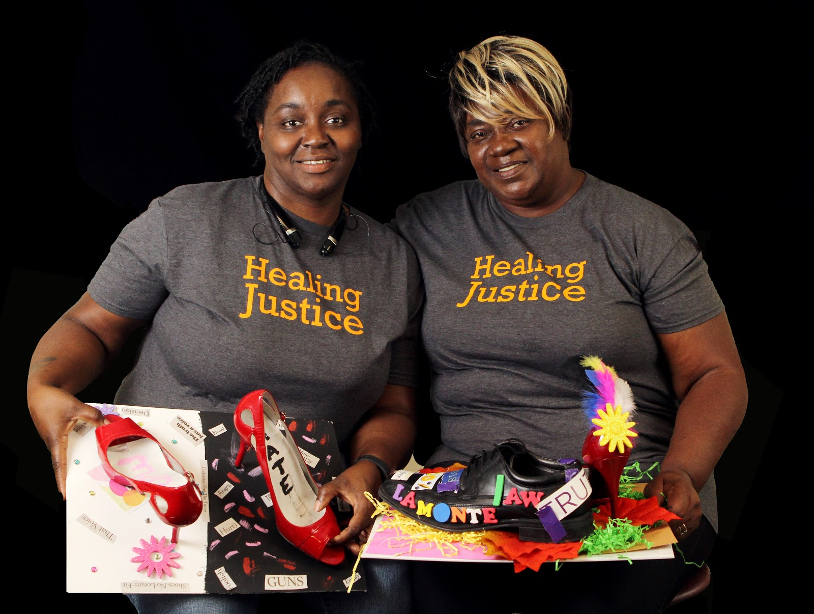 Rosie + Niko - Rosie Mcintyre (right) and Niko Quinn (left), Exoneree Family Member and Victim Family Member, KansasRosie's 17-year-old son, Lamonte Mcintyre, was convicted of a double murder in 1994 and sentenced to life in prison. Lamonte returned home at 40-years old after being exonerated in 2017. Rosie worked hard to free her son, including often dressing as a man to go out at night to investigate the case. Niko's cousin, Doniel Quinn, was one of two murder victims in the case. Niko testified against Lamonte and later reached out to Rosie to explain that she had been wrong. She and Rosie became friends and fought together to free Lamonte. Their story of reconciliation embodies the spirit of Healing Justice.