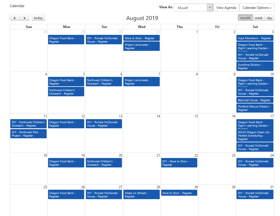 These are currently planned activities for August 2019 and more volunteer opportunities are being added all the time!