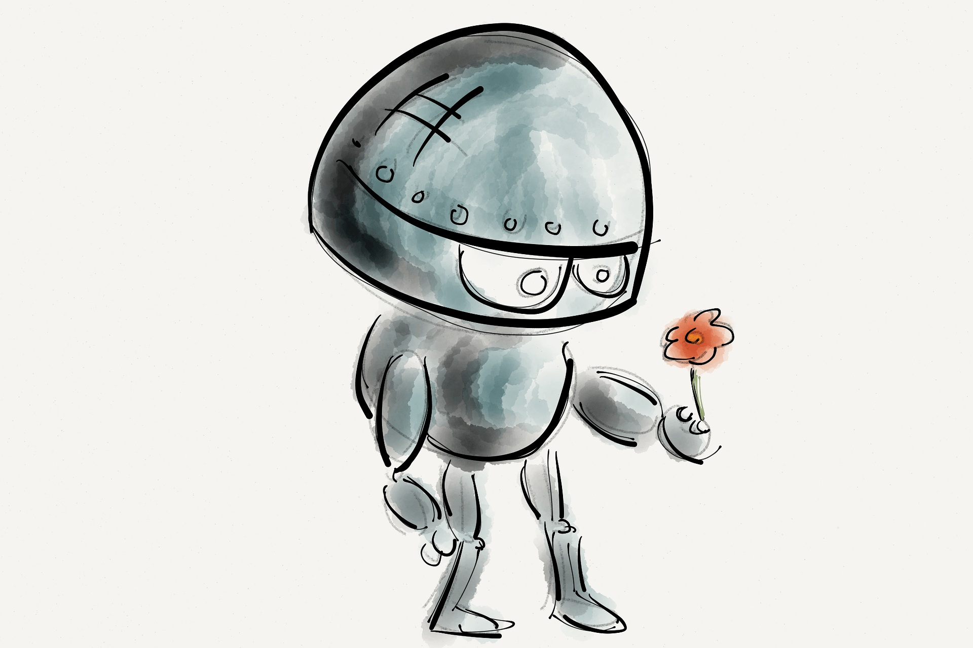 Robot with flower sketch