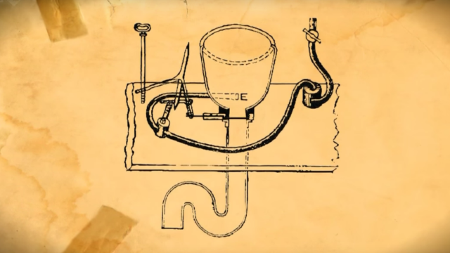 Alexander Cummings' design for a flush toilet. Notice the S-trap underneath.