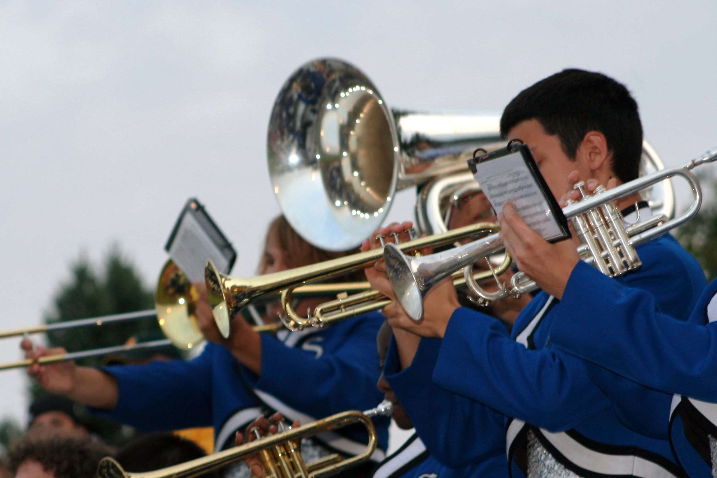 marching band in the stands