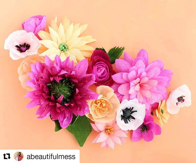 "We love our fellow creative women, and want to share their art with you! Check out @abeautifulmess for tips on how to make fun creations like these crepe flowers and more 💐😍 #Repost ・ ・ ・ This crepe paper flower garland is so much fun for an end of summer event. Learn how to make these pretty paper blooms by searching ""crepe flowers"" on A Beautiful Mess. 🌸"