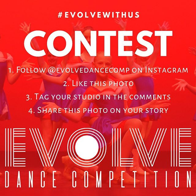 We are giving away 5 FREE GROUP ENTRIES for our inaugural 2020 season! Do you want to win a free group entry to Evolve Dance Competition for you and your teammates? It's easy! All you have to do is:  1. Follow @evolvedancecomp on Instagram 2. Like this photo 3. Tag your studio in the comments below 4. Share this photo (use the paper airplane) to your story  Once we reach 1000 followers, we will randomly select 5 WINNERS, and each one will win 1 FREE GROUP ENTRY for their studio in the 2020 season! With events in Calgary, Edmonton, Saskatoon, Vancouver and Victoria we can't wait for you to #evolvewithus!  Giveaway Rules: This contest is not affiliated with Instagram. 5 individual winners will be drawn once we reach 1000 followers. Each winner will receive 1 free group/line entry to the tour location of their choice. Transportation is not provided. Production entries are not included in this contest. Group/Line entries must adhere to all Evolve Dance Competition rules and regulations. Competition entries must be submitted by the studio owner only, no exceptions.