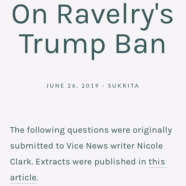 New post up on the @unfinished_object website, you can read more via the link in the bio⁣⁣ ⁣⁣ @_unfinishedobject member @su.krita was interviewed by Nicole Clark for @vice regarding @hi.ravelry and their recent ban on Trump, the full piece can be found on the website.