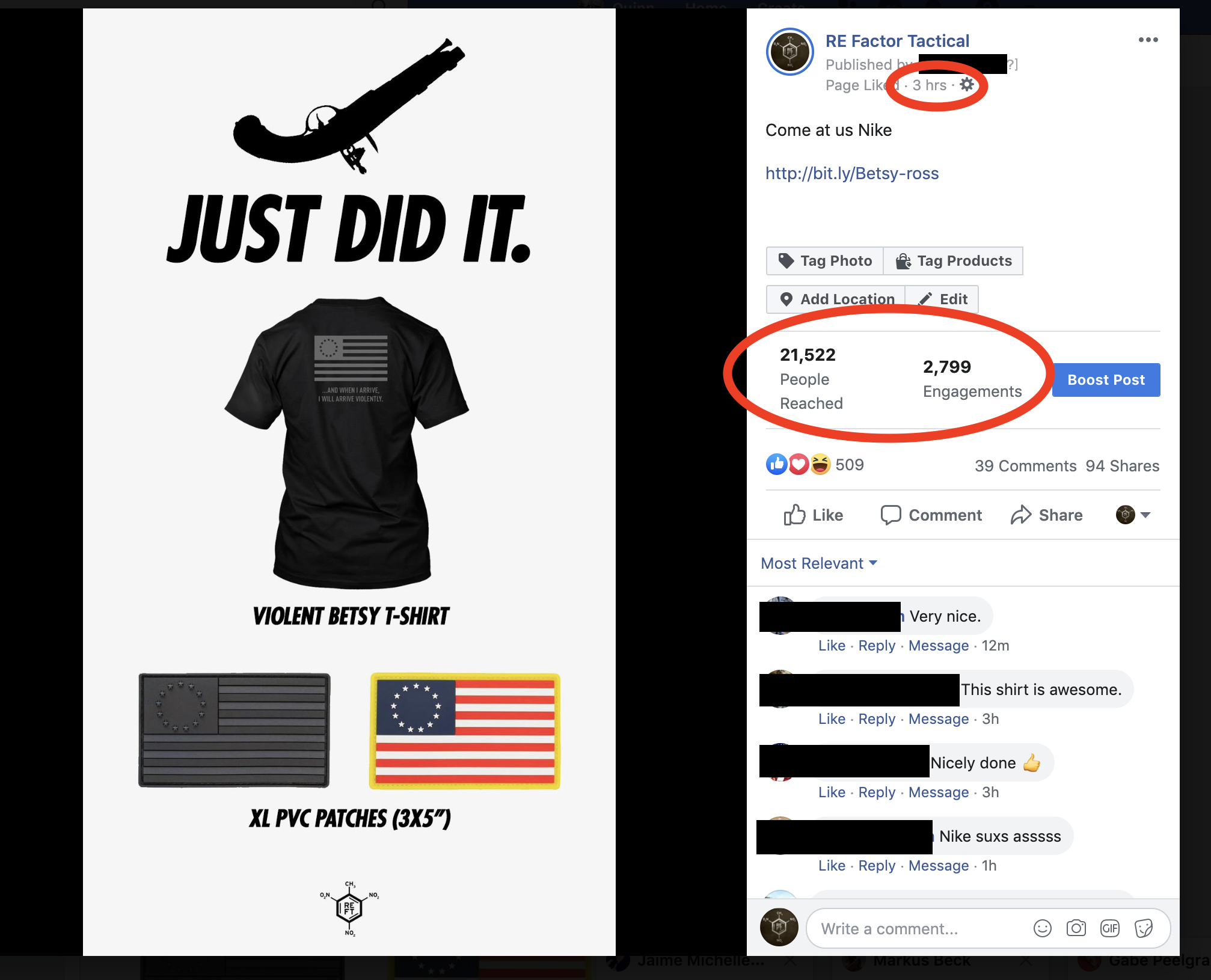 Posted on the  RE Factor Tactical Facebook Page  (you can see the direct results through this link)