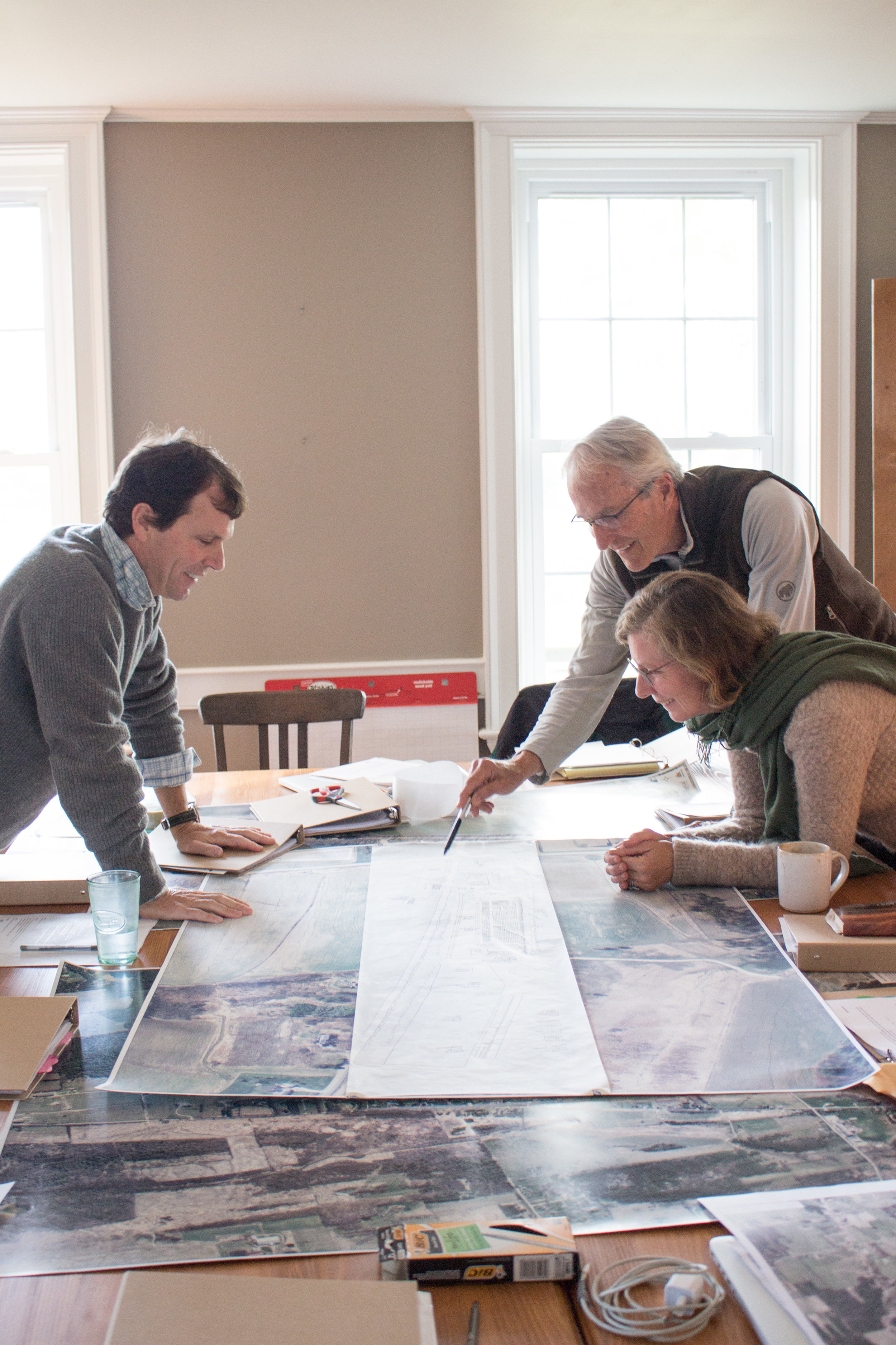 Peter Swift, Diana McCargo and Grant McCargo farm planning and visioning in October 2015.