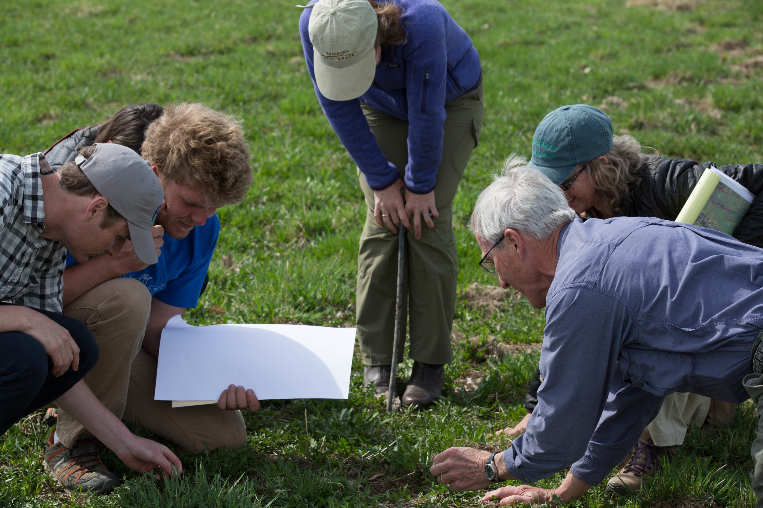 Studying the grass species growing in our pastures during a visit with Sarah Flack.