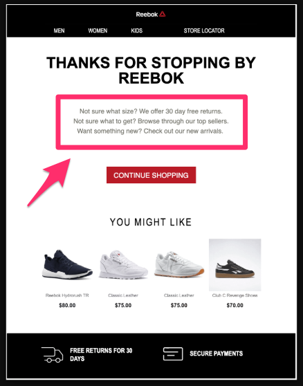 This is a great example of how to bust objections by Reebok. The headline is bad, but take notes on how they answer FAQs in the body text.