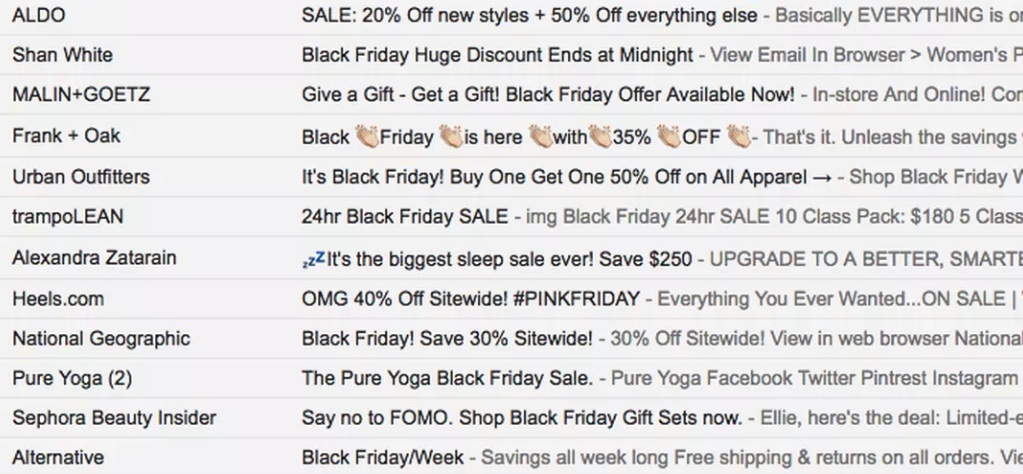 This is what your customers' inbox looks like on Black Friday.