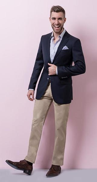 Classic Casual - A modern wool blazer, cotton chinos and a smart crisp shirt and pocket square. There's nothing more classic or casual than that