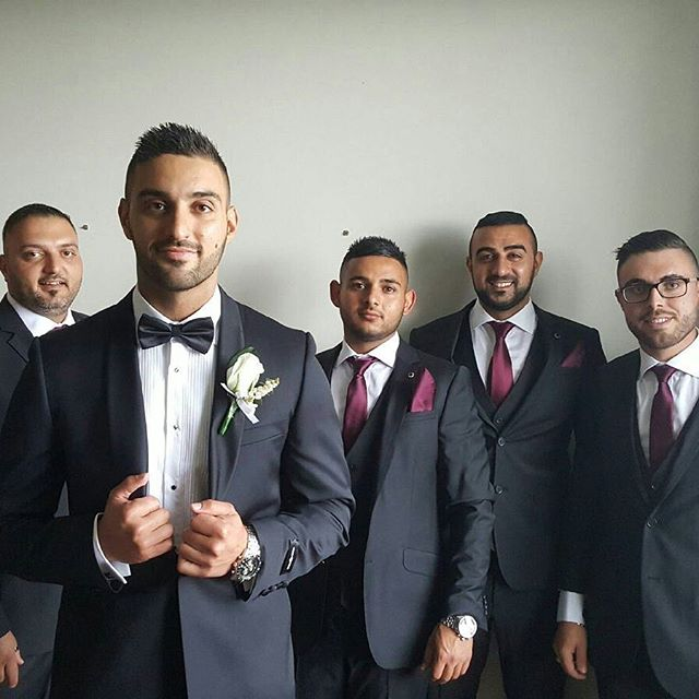 Charbel and his groomsmen are a handsome bunch. Life could never be so good on this big day. Congrats on your wedding, you're all looking dashing dressed by the team a Macquarie. Best wishes to this next chapter in your life.