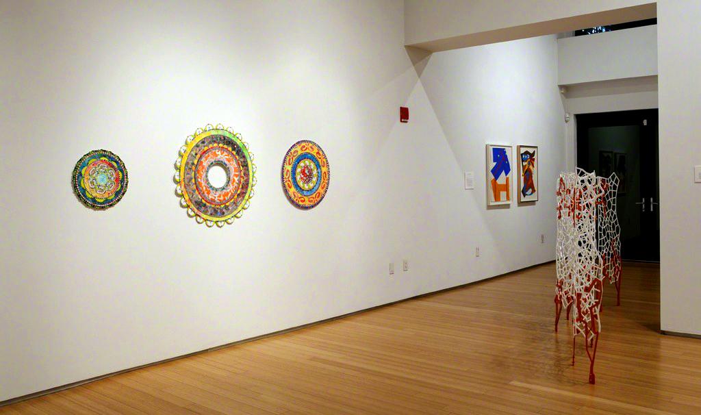 View of Uh-Oh Fish Mandala 17″, Stargate Mandala 34″ and Power Flower Mandala 25″