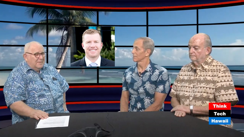 Jay Fidell, Peter Rosegg from Hawaiian Electric, Tony Gill from Ewa Lands, and Nick Henriksen talk on Think Tank Hawaii show