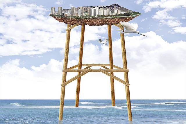 Honolulu on stilts illustration