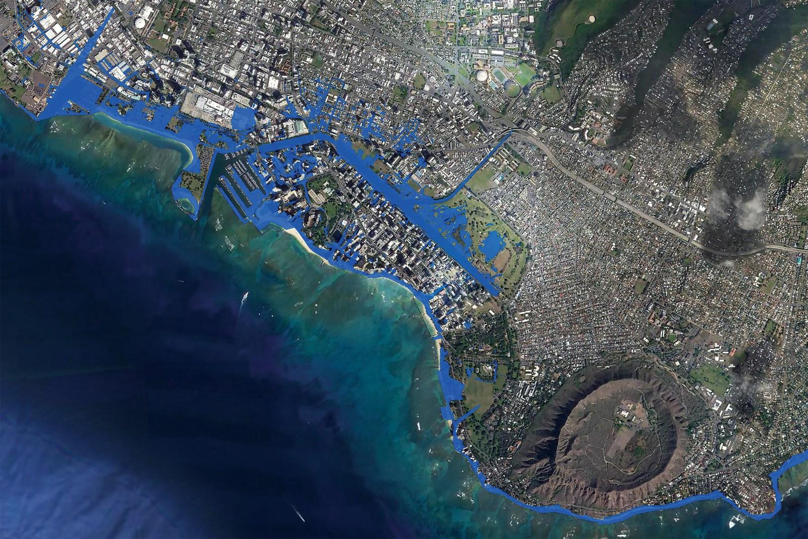 Map of sea level rise in Honolulu