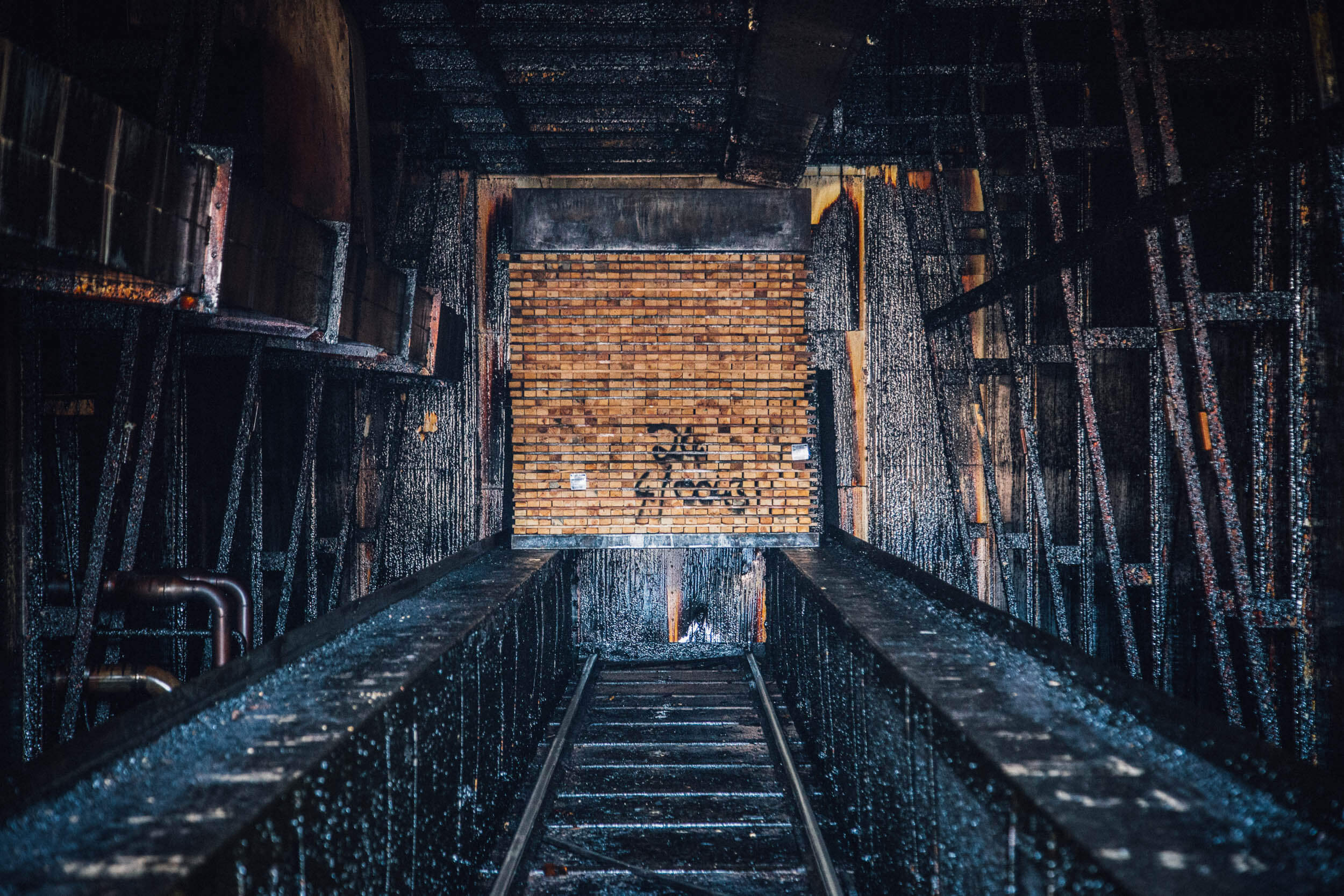 The insides of a kiln