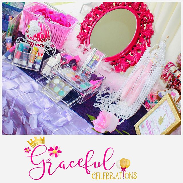 Glam station for our Princesses. They all want the pearls.  Classy and beautiful. #teapartyideas #princessteaparty #gracefulcelebrations