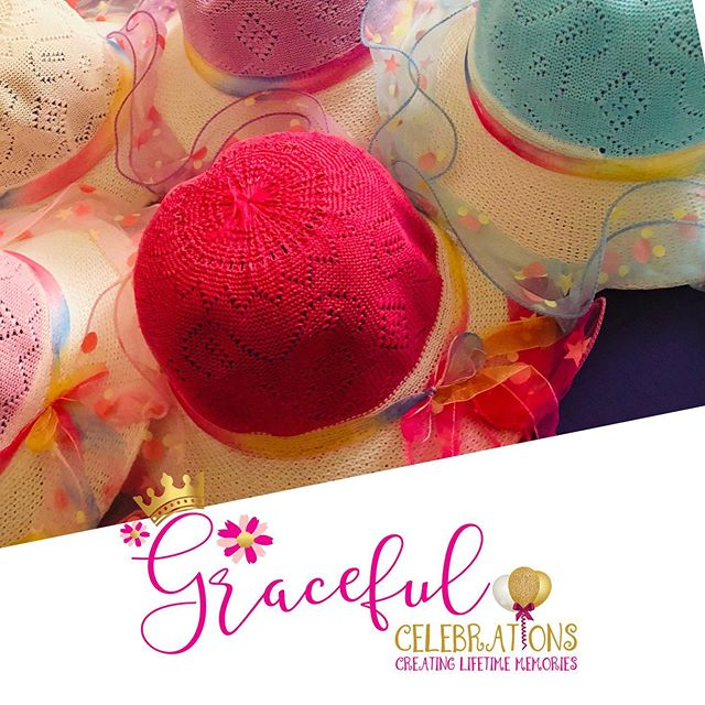 Absolutely love our new tea party hats! Reserve your tea party at www.gracefulcelebrations.com #gracefulcelebrations #girlsteaparty #fancygirl #teapartyideas