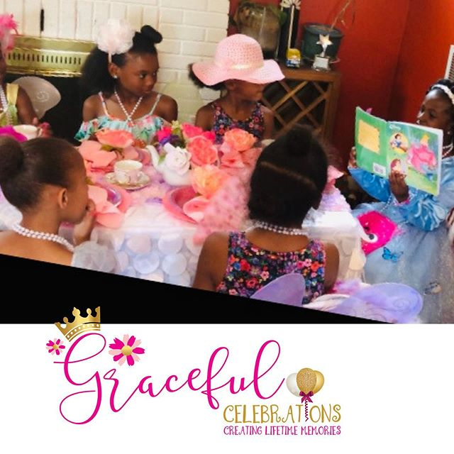 All eyes are on the Princess as she reads about etiquette and manners. Our next tea party is happening soon.  To book your magical tea party visit www.gracefulcelebrations.com #girlsteaparty #gracefulcelebrations #etiquetteteaparty #teapartyideas