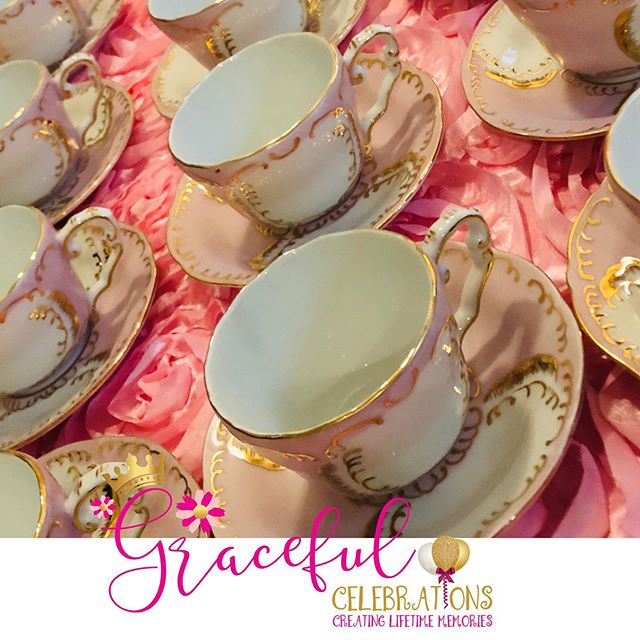 Beautiful tea cups and table settings for a perfect princess tea party! Visit www.gracefulcelebrations.com Now reserving your memorable fall and winter graceful tea event. #girlsteaparty #gracefulcelebrations  #teapartyideas #etiquetteteaparty