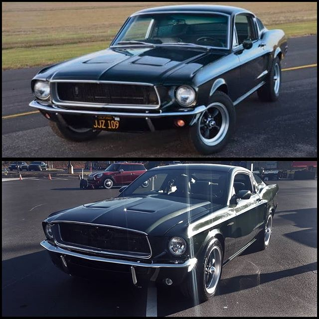 It's MUSTANG MONDAY!!! So we figured we would post another comparison shot between a real 68 Fastback and our Retro-Bullitt!!! These are fun because those who appreciate the work can see the similarities and differences in a real 68 and our tribute car, and it gives the keyboard warriors out there a fresh way to start their week with something to complain about! We like to be very giving to our audience! Have a great day everyone!  #mustangmonday #mustang #musclecars #hotrod #bullittmustang #bullitt #awesome #retrobuilt #ford #stevemcqueen #restomod #whoa
