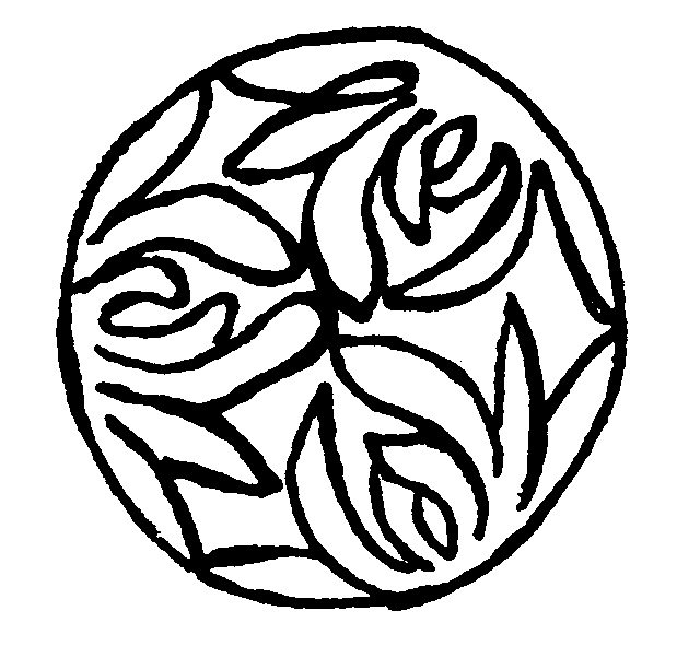 Orchid Mon Symbol - This Symbol is a Mon.A Mon is a Japanese family crest.This particular Mon is one of an ORCHID.This motif is hand-painted repeatedly throughout the kimono as a pattern.
