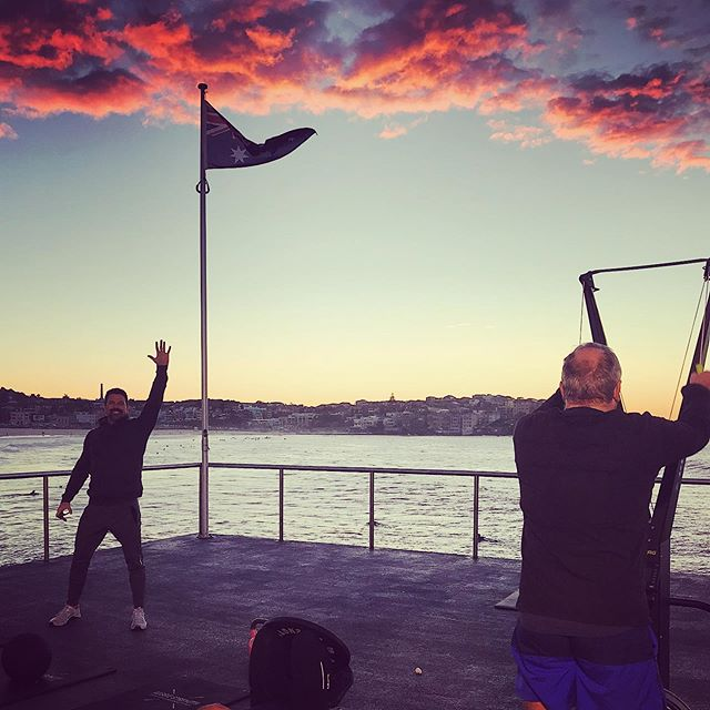 Early morning PT sessions on the deck with @cbfitness No better way to start the day!🌞 📷@annabelstaines