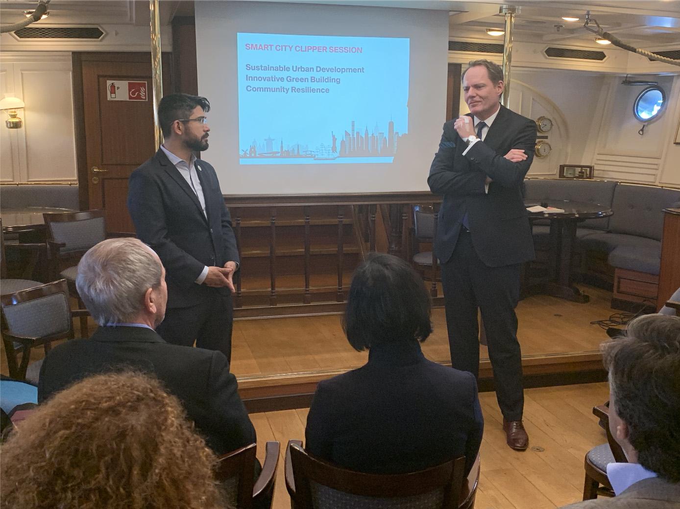Brooklyn City Council Member Carlos Menchaca and Vice-mayor of Amsterdam Udo Kock.