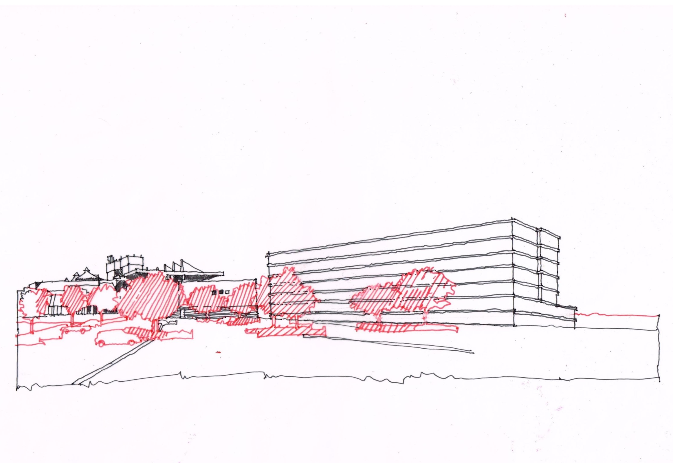 Architects impression of just how massive the proposed hotel would negatively impact the views across our Greenbelt.
