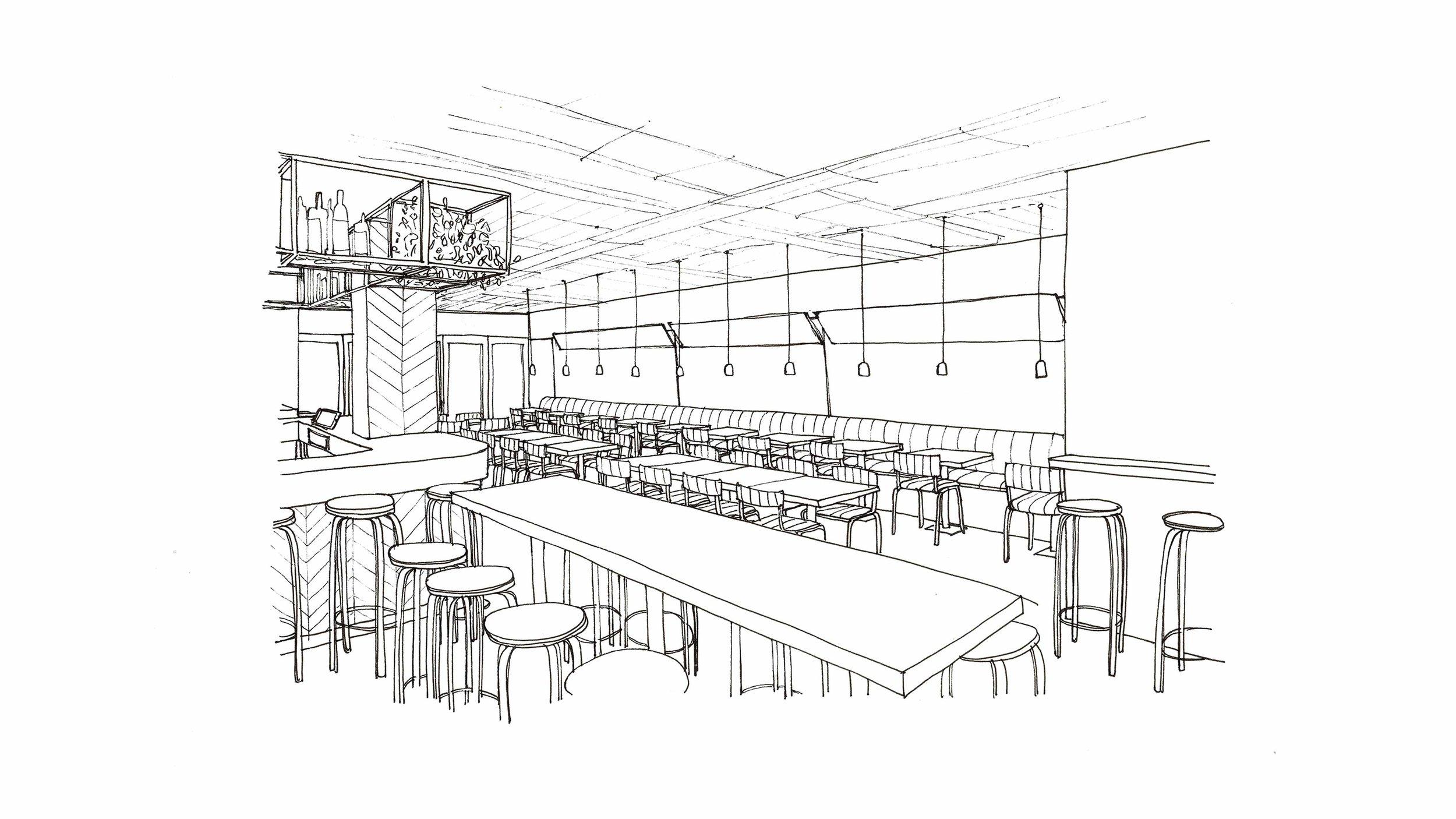 Pigsty Interior Sketch